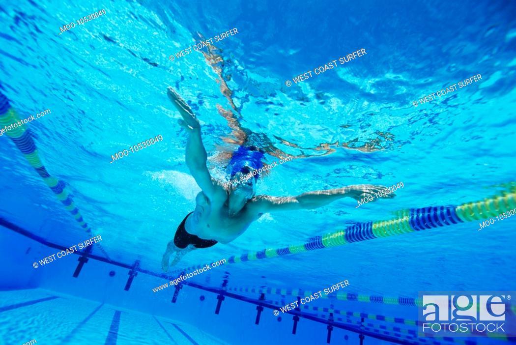 Stock Photo: Man Swimming in Pool.