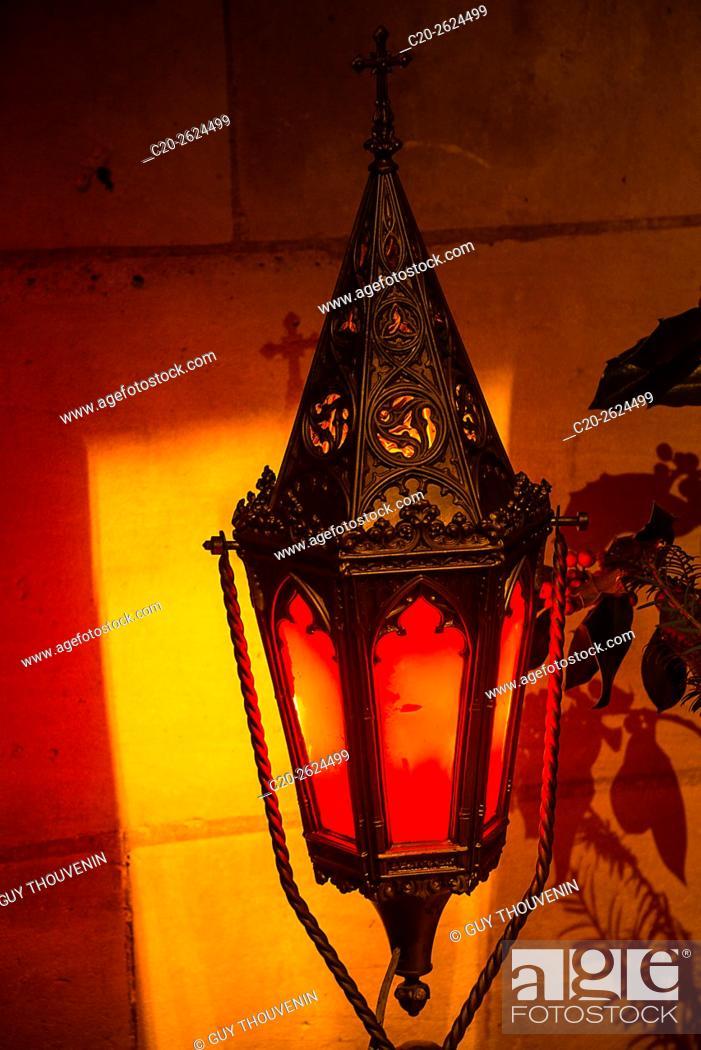 Stock Photo: Red lantern, Bernay, 27, Normandy, France.