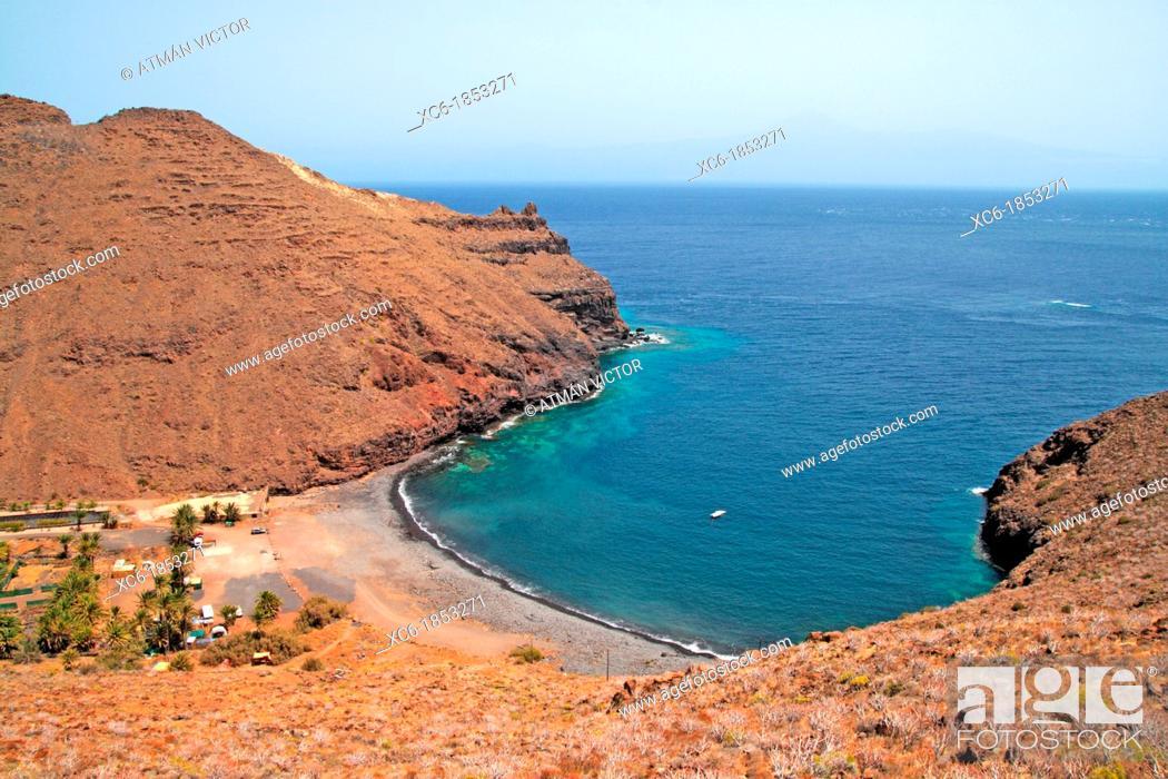 Stock Photo: Abalo beach in la Gomera island.