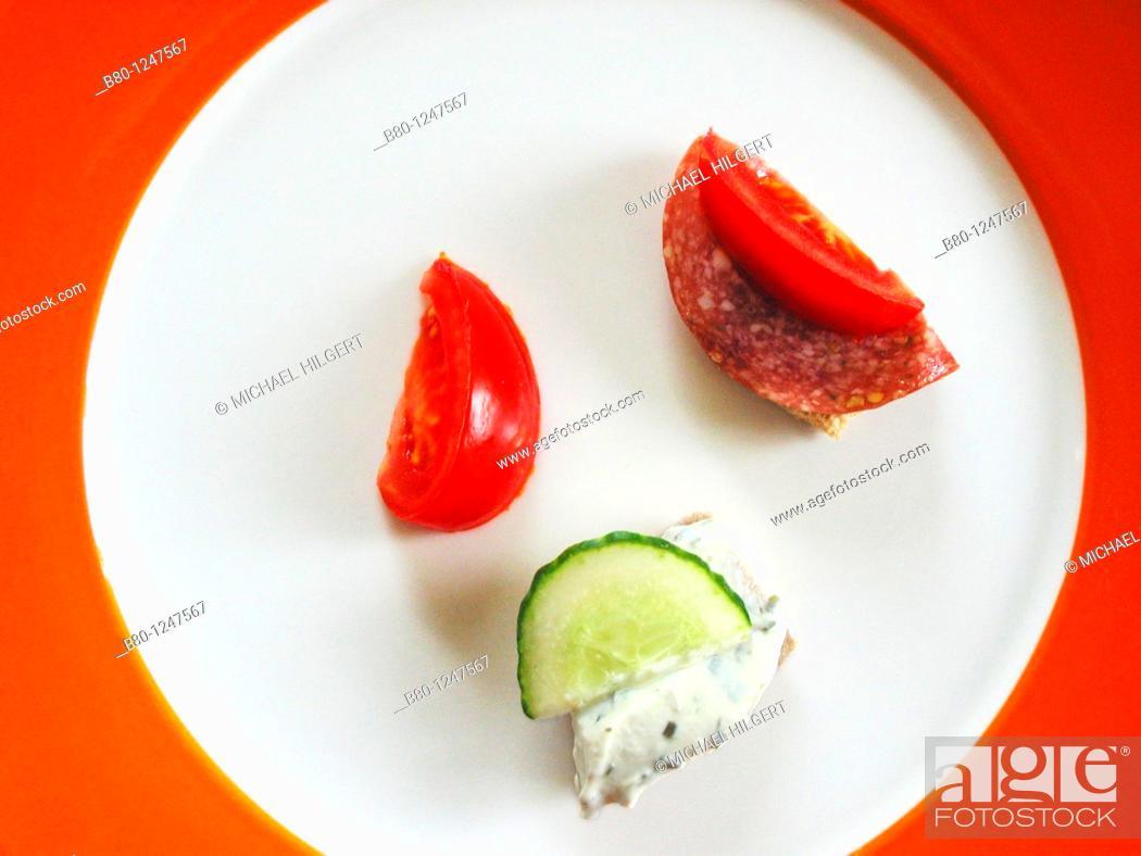 Stock Photo: Tomatoes, sausage, cheese, cucumber, Kiel, Germany.