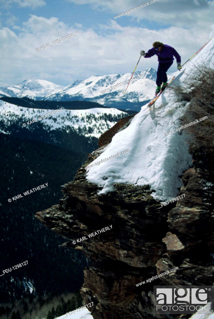 Stock Photo: Extreme skiing in Vail, Colorado, USA.