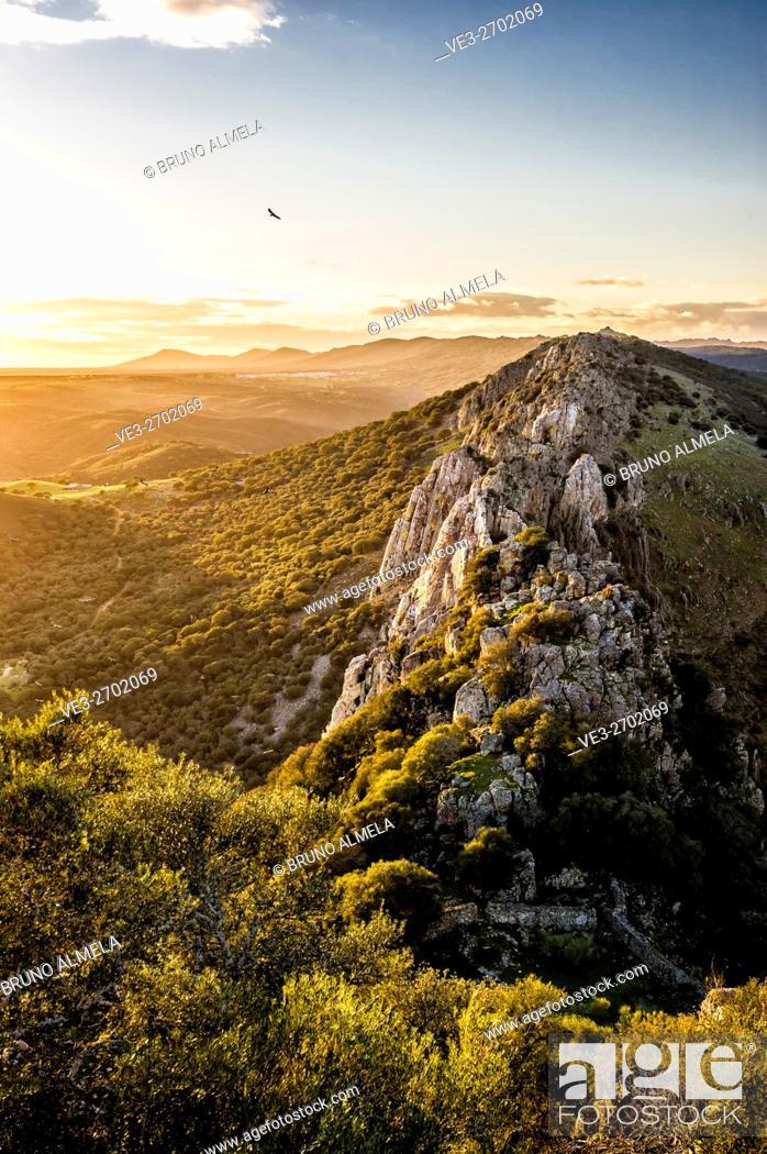 Stock Photo: View of Salto del Gitano from Monfragüe's Castle in Monfragüe National Park (Cáceres Province, Extremadura Region, Spain).