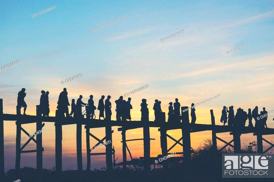 Stock Photo: Last light at U Beng Bridge, wooden bridge in Mandalay, Myanmar.