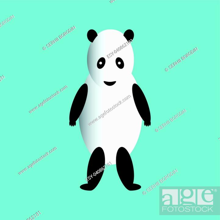 Stock Vector: The panda is on its hind legs set.