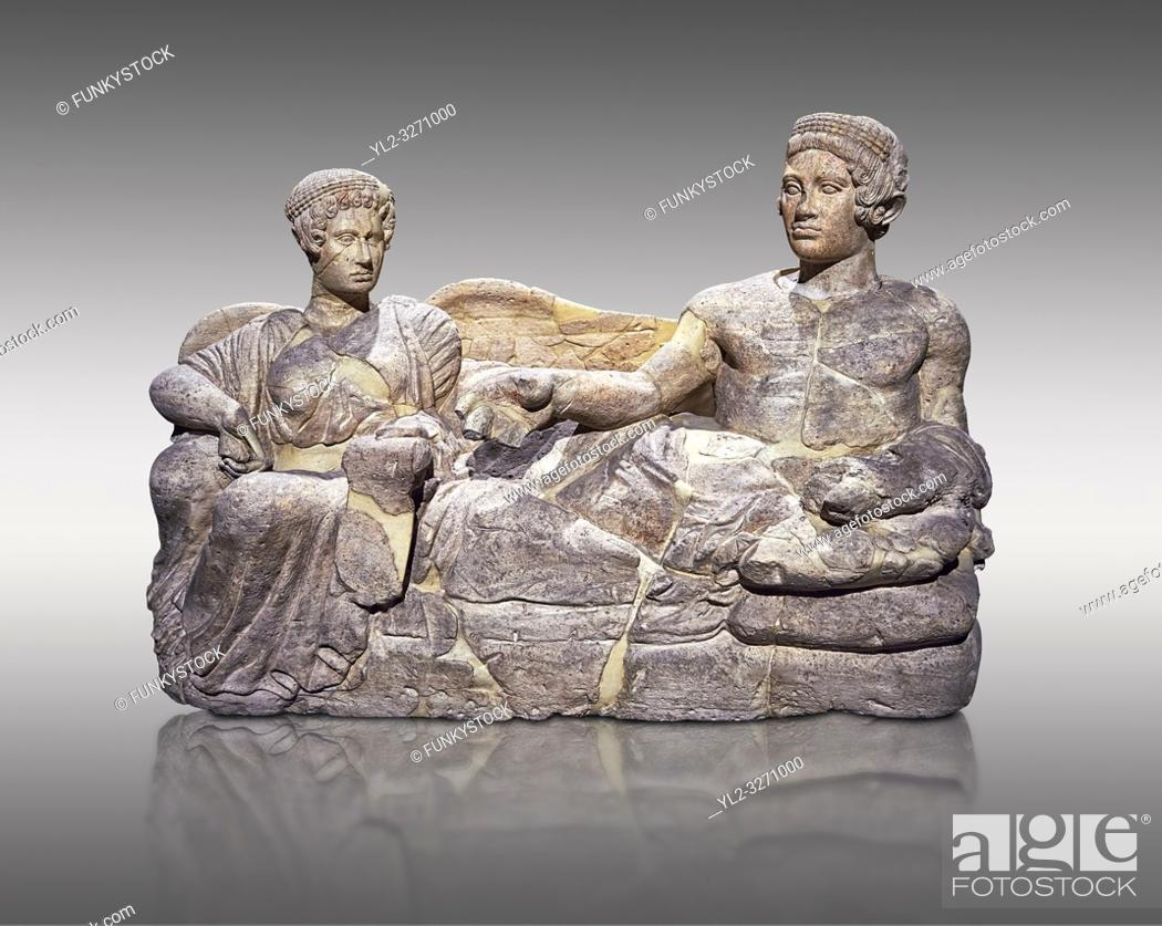 Stock Photo: Etruscan cinerary, funreary, urn cover depicting a husband and wife, from the Padata Necropolis, Chianciano, end of 5th century B. C.