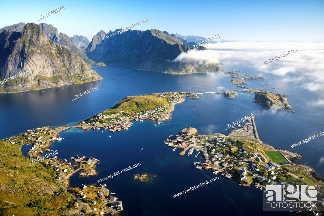 Stock Photo: Norway, Nordland, Lofoten islands, Moskenesoy island, view of the fishing villages of Reine, Sakrisoy, Toppoy and Hamnoy from Reinebringen (448m).