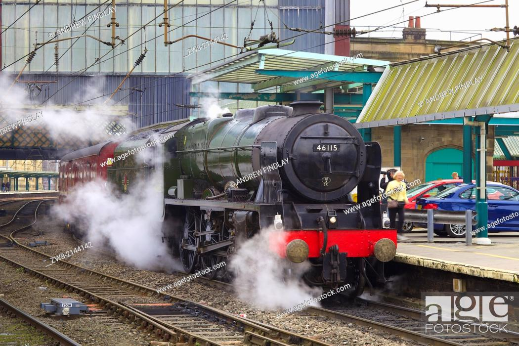 Stock Photo: Steam train 46115 Scots Guardsman at Carlisle Railway Station, Carlisle, Cumbria, England, United Kingdom, Great Britain.
