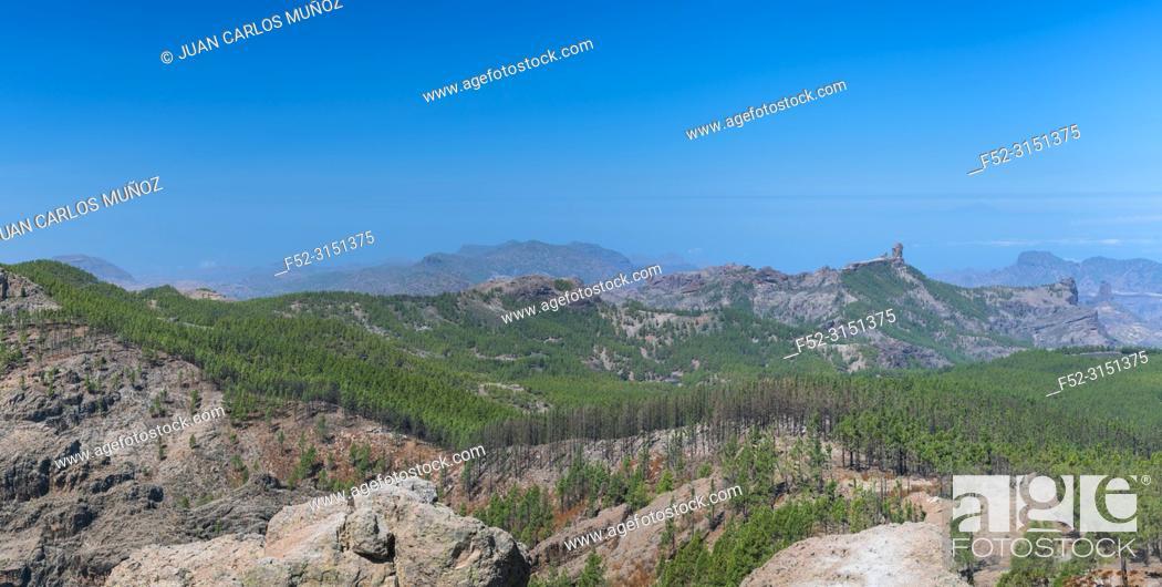 Stock Photo: Roque Nublo sacred mountain, Peaks Protected Landscape, Paisaje Protegido de las Cumbres, Gran Canaria Island, The Canary Islands, Spain, Europe.