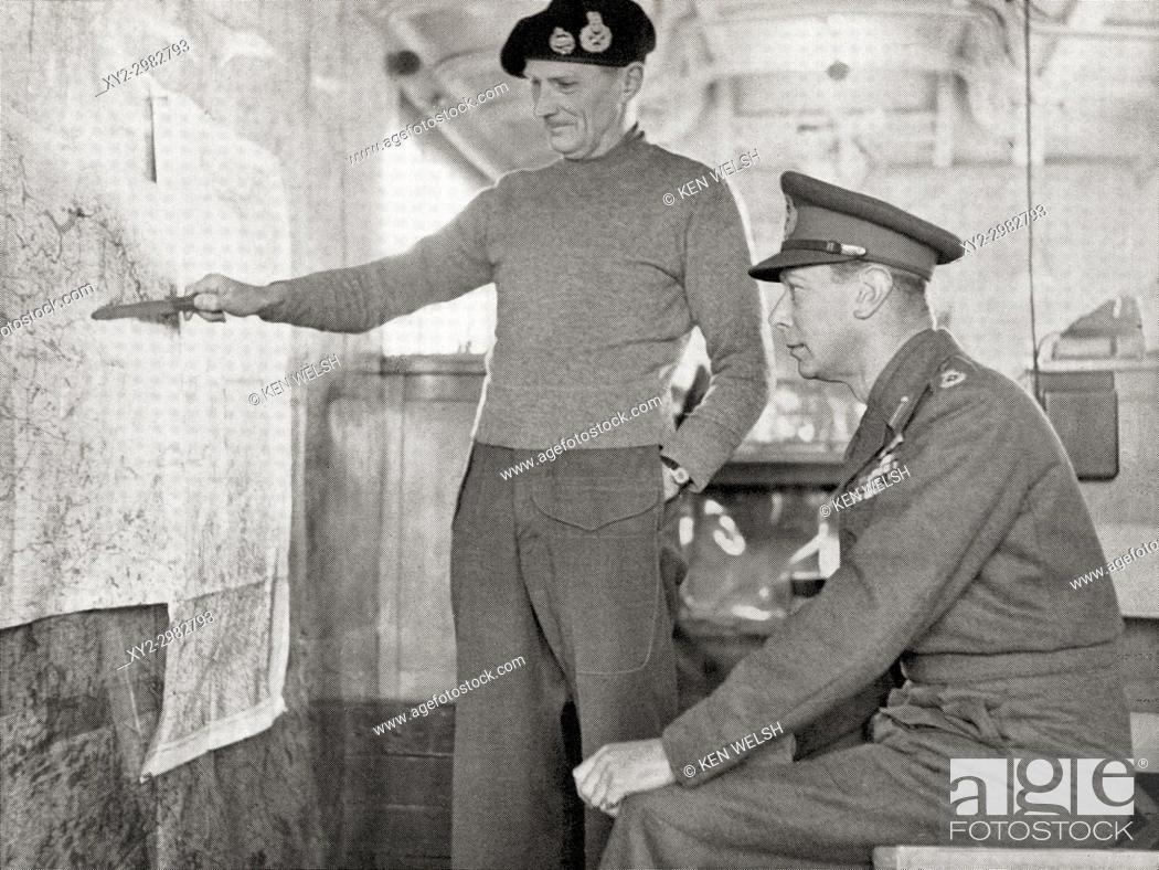 Stock Photo: King George VI in the map lorry at Field-Marshal Montgomery's H. Q. in Holland, 1940. Left, Field Marshal Bernard Law Montgomery.