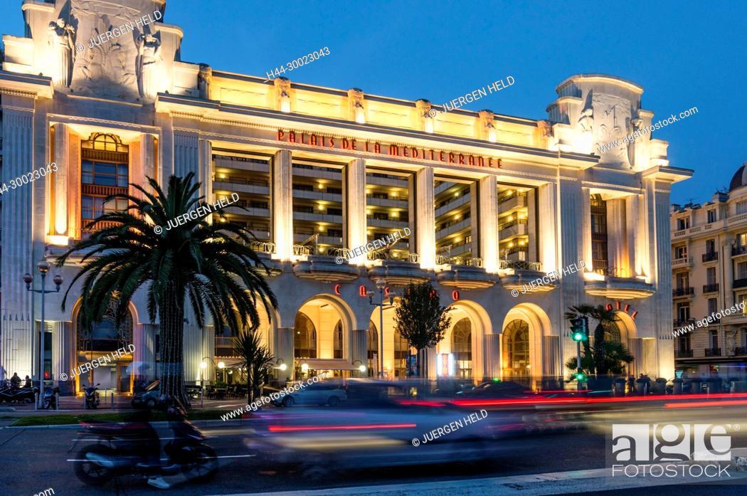 Stock Photo: France, Nice, Promenade des Anglais, Palais la Mediterranee, Hotel, Casino, theatreNice, Alpes Maritimes, Provence, French Riviera, Mediterranean, France.
