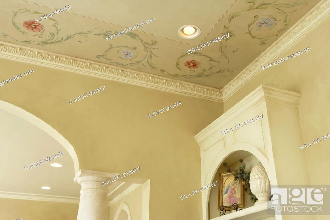Stock Photo Architectural Trim Ornate Crown Molding Part Of Column In Arched Doorway