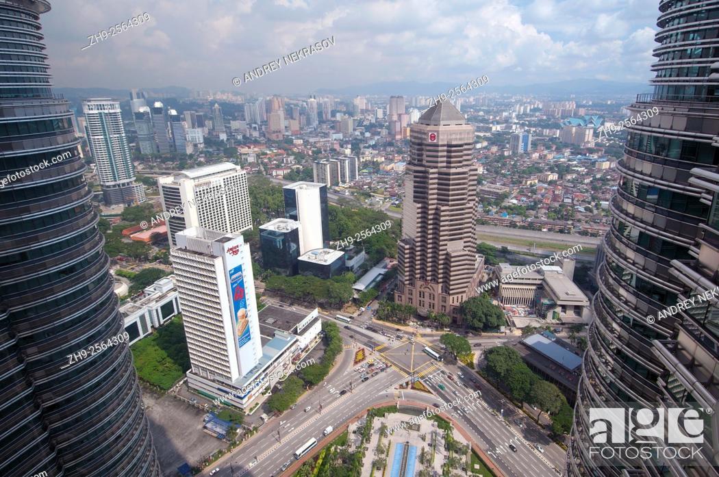 Stock Photo: View from the Twin Towers Petronas Twin Towers, Kuala Lumpur, Malaysia.