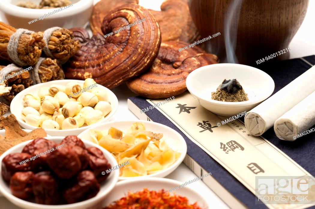 Stock Photo: Various kinds of Chinese herbal medicines and tools.