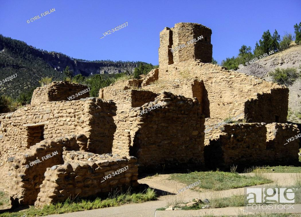 Stock Photo: Ruins of Spanish mission church, established by the Coronado Expedition, Jemez Indian Reservation New Mexico.