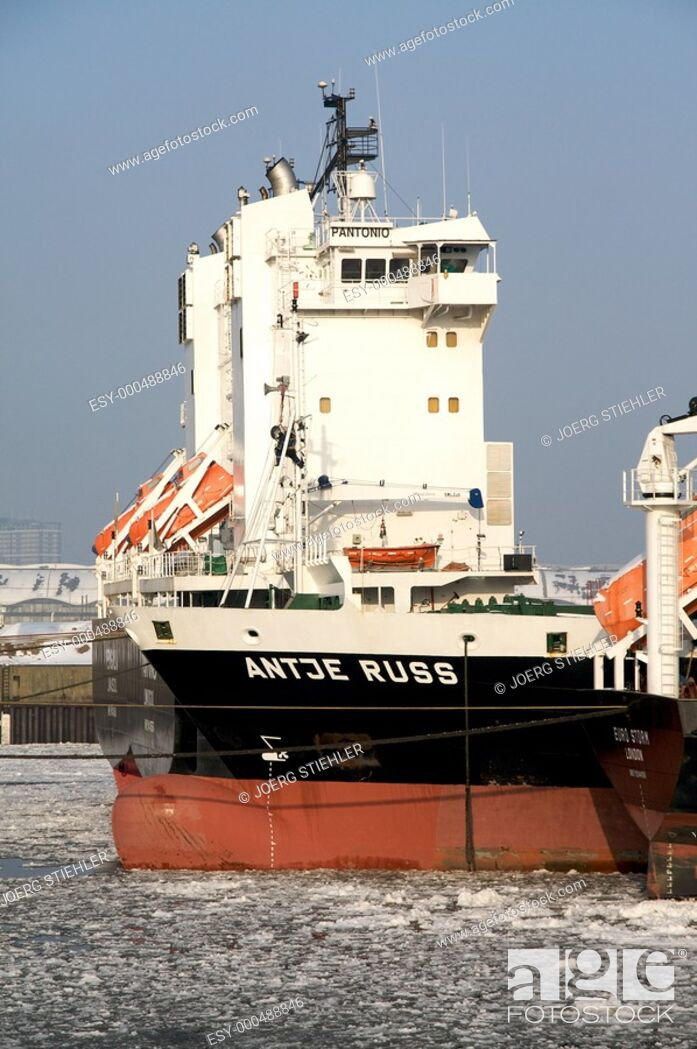 Stock Photo: Ship waiting of cargo, Hamburg, Germany.