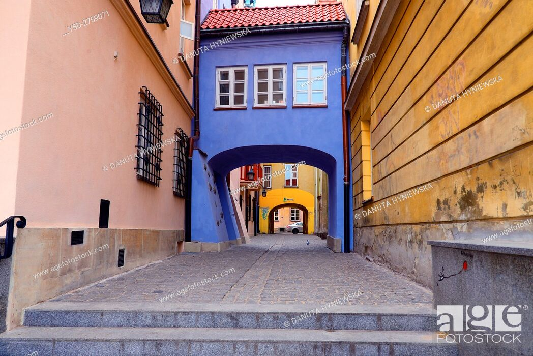 Stock Photo: Pedestrian passage connecting Jezuicka and Brzozowa streets, Old Town of Warsaw, UNESCO World Heritage, Warsaw, Poland, Europe.