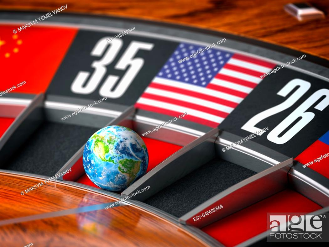 Stock Photo: Earth as a ball of casino roulette with american USA flag in winning number. Time of world leadership of USA and winning in world trade war concept.
