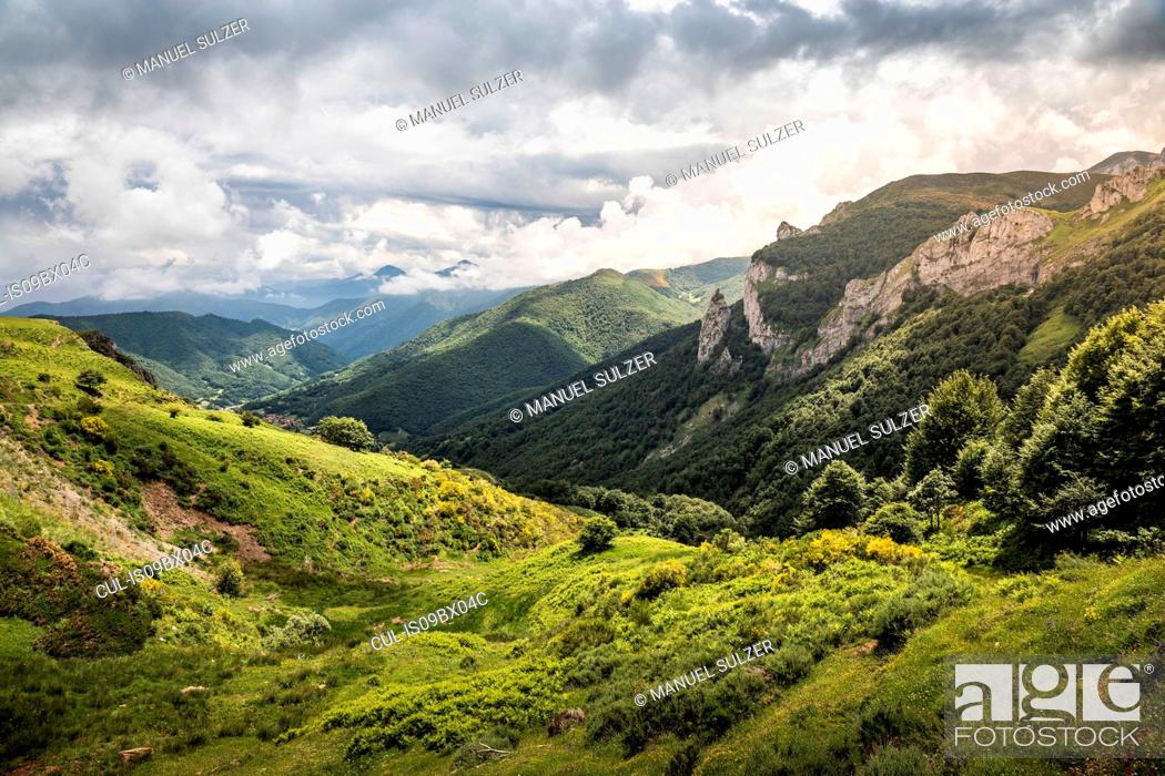 Stock Photo: Landscape near Fuente De in national reserve Parque National de los Picos de Europa, Potes, Cantabria, Spain.