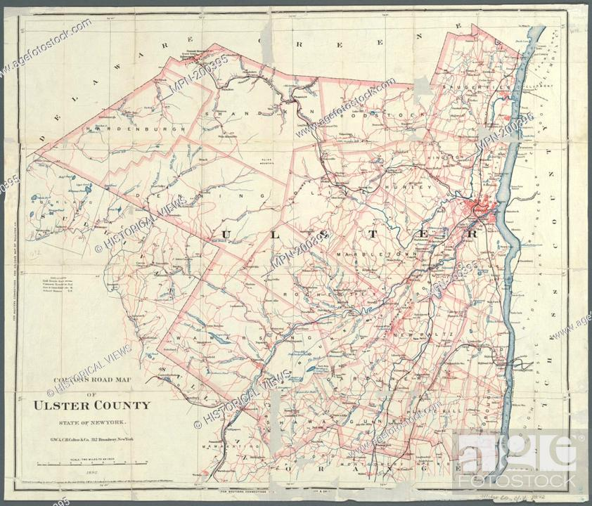 Ulster County New York Map.Colton S Road Map Of Ulster County State Of New York G W C B