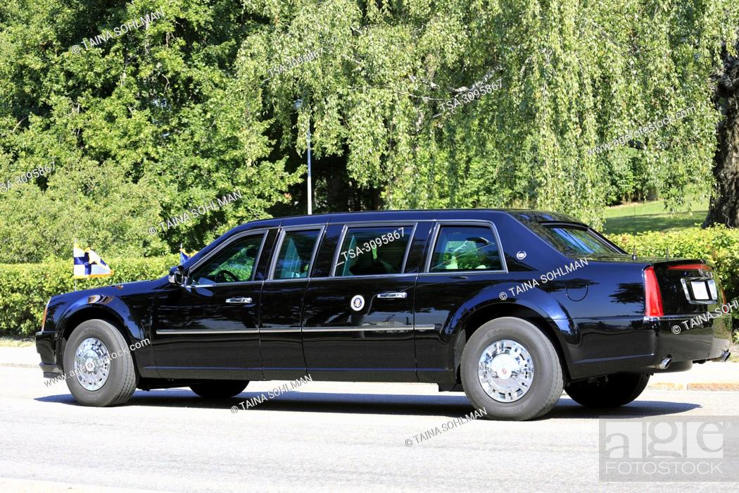 Stock Photo: Helsinki, Finland. July 16, 2018. The motorcade of US President Donald Trump and First Lady Melania Trump passes along Ramsaynranta ahead of US and Russian.