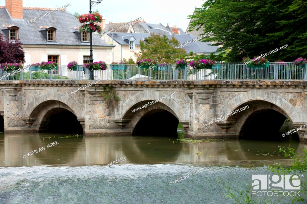 Stock Photo: Old bridge in Azay Le Rideau.Loire Valley, France.