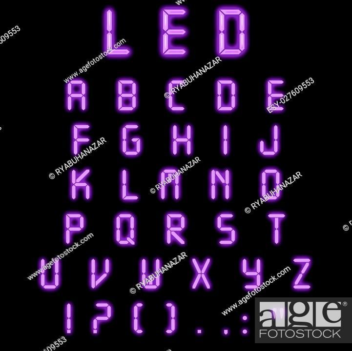 Stock Photo: Led alphabet purple on a black background.