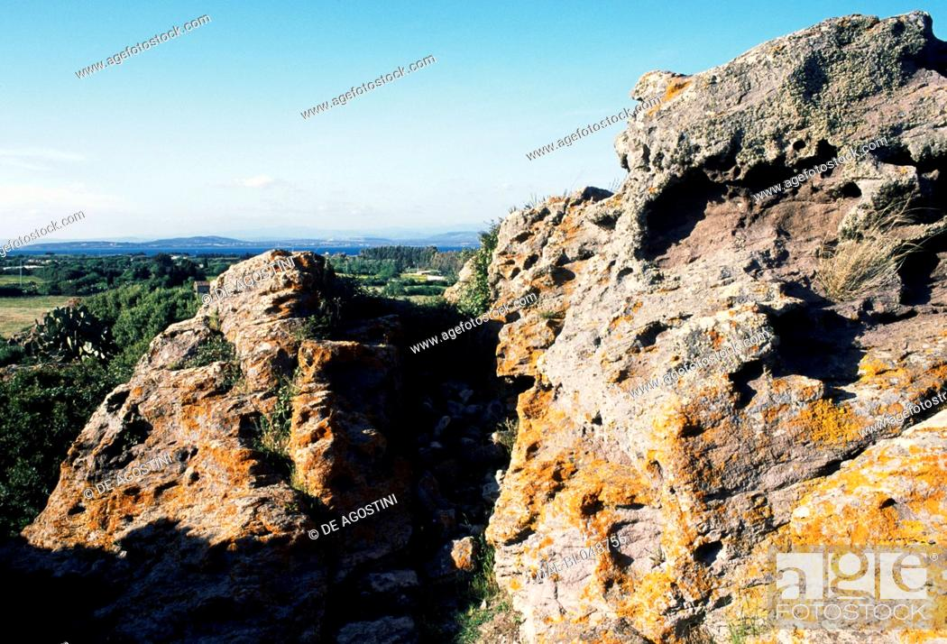Stock Photo: Glimpse of the Tophet of the ancient city of Sulci, Sardinia, Italy. Punic civilisation.