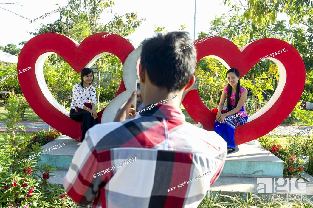 Stock Photo: Myanmar (formerly Burma). Kayin State (Karen State). In the surroundings of Hpa Han. Young People at Floral park.