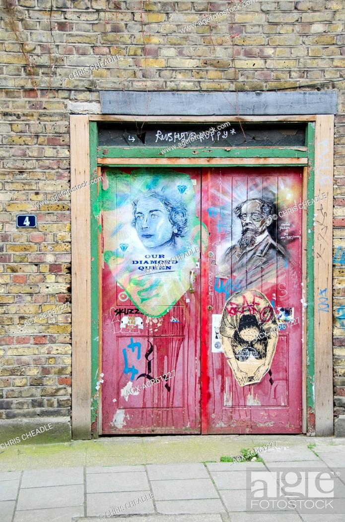 Stock Photo: Street Art, near Brick Lane, Shoreditch, East London, England.