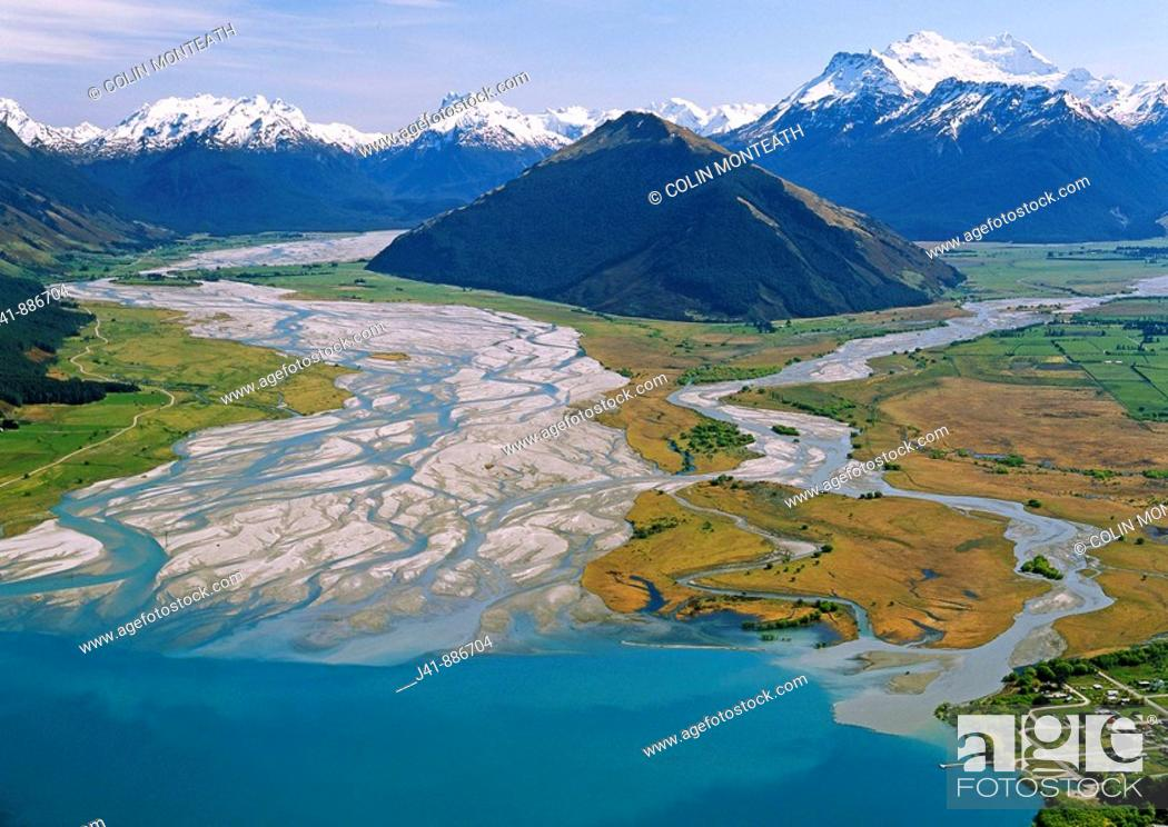 Stock Photo: Glenorchy with Dart River mouth left and Mt Earnslaw 2819 m right aerial view from over Lake Wakatipu New Zealand.