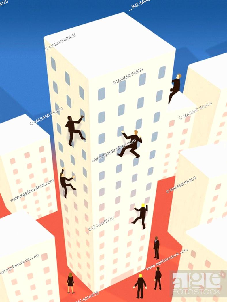 Stock Photo: Business people scaling up a building in a city.
