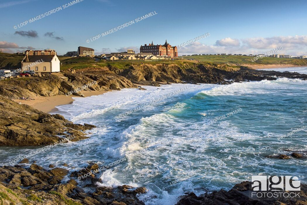 Stock Photo: Summer evening sunlight over the coast of The Headland in Newquay in Cornwall.
