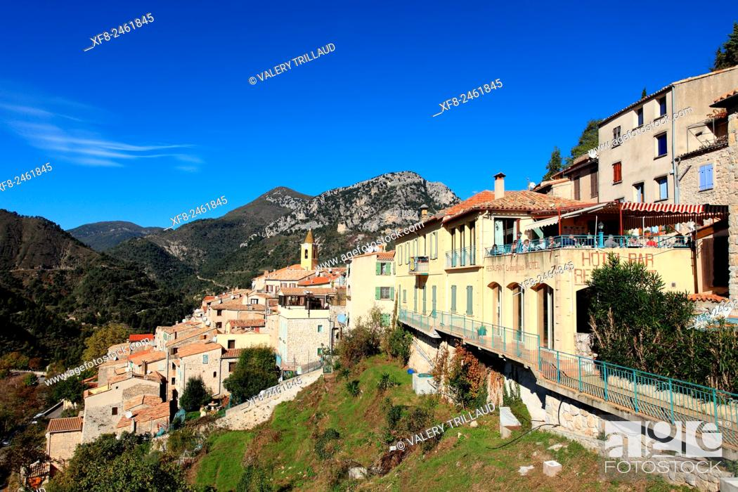 Stock Photo: Medieval perched village of Sainte Agnes, Alpes-Maritimes, Côte d'Azur, French Riviera, France.