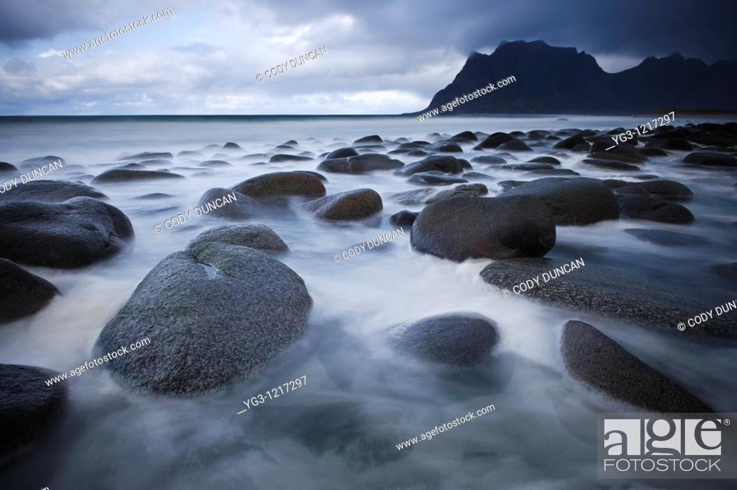 Stock Photo: Tidal rock at Utakleiv beach, Vestvagøy, Lofoten islands, Norway.