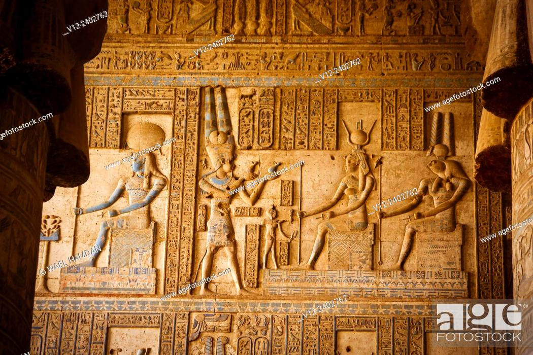 Stock Photo: Temple of Hathor DandarahDendera, Ptolemaic period, 1st century b.C. relief scene, Qena, Egypt.