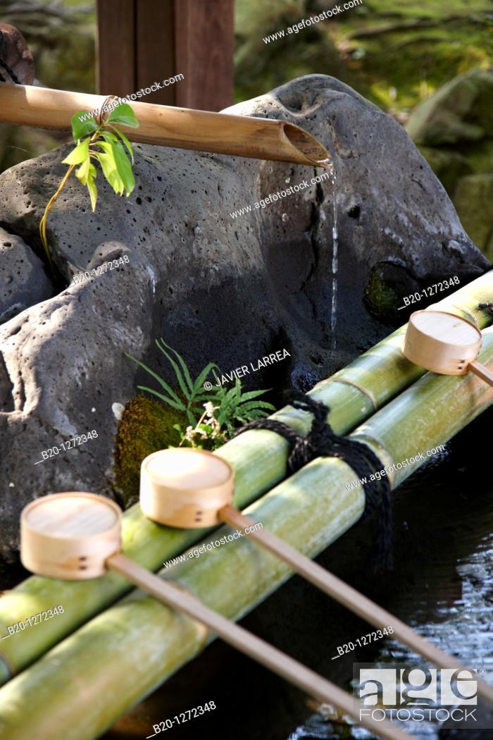 Stock Photo Japanese Bamboo Fountain Wara Tenjin Shrine Kyoto Japan