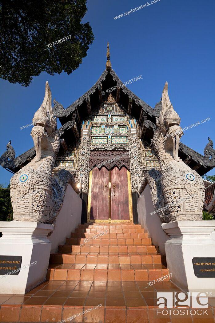 Stock Photo: Wooden building holding the Venerable Acharn Mun Bhuridatto Vihara, Wat Chedi Luang, Chiang Mai, Thailand.