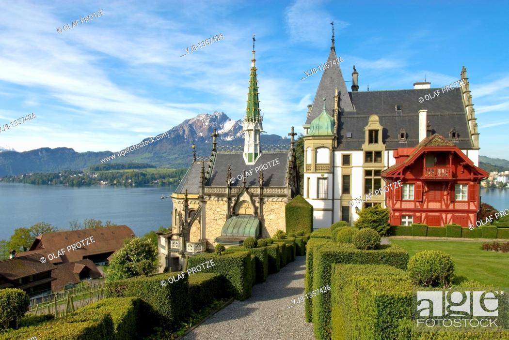 Stock Photo: Schloss Meggen, a castle overlooking Lake Lucerne at the Meggenhorn near Lucerne in Switzerland.