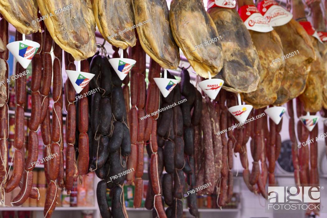 Imagen: Hams and sausages hanging, butcher shop, Galera, Spain.