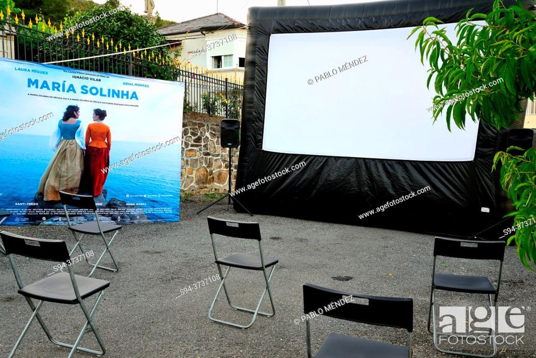 Stock Photo: Street Cinema. Maria Solinha in Alcouce square, Seadur, Larouco council, Orense, Spain.