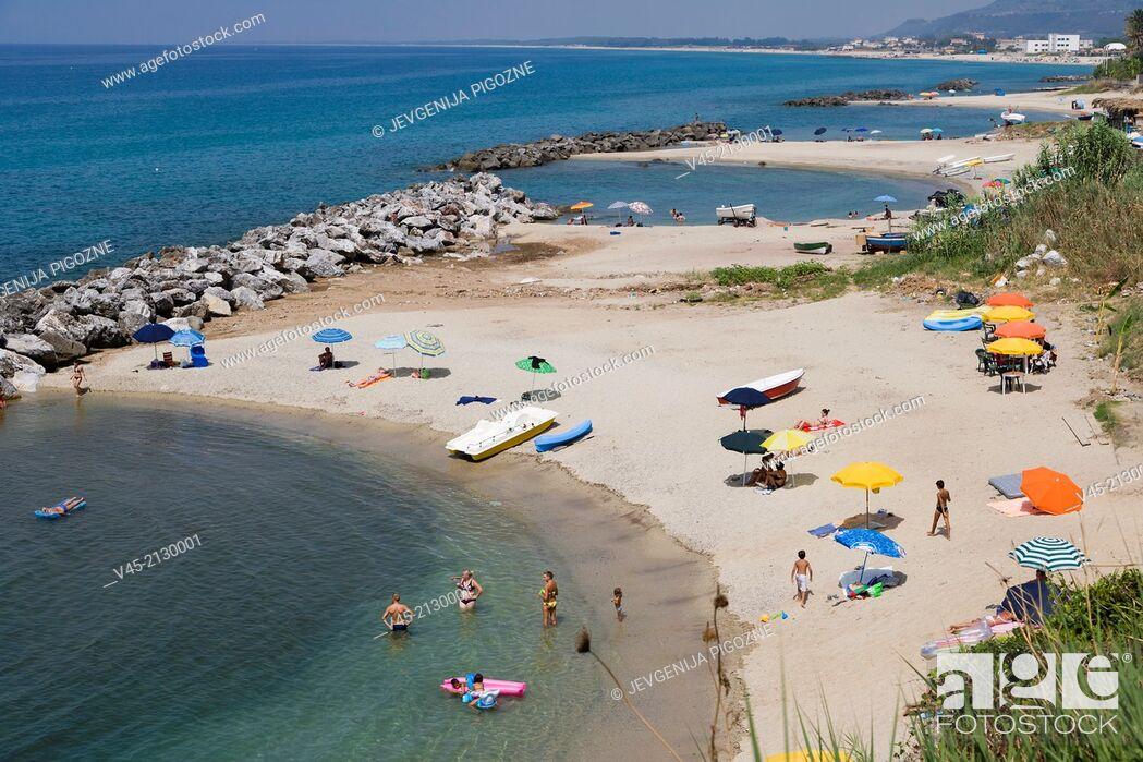 Stock Photo: Beaches near La chiesetta di Piedigrotta, just outside Pizzo or Pizzo Calabro, Vibo Valentia, Calabria, Southern Italy, Italy.