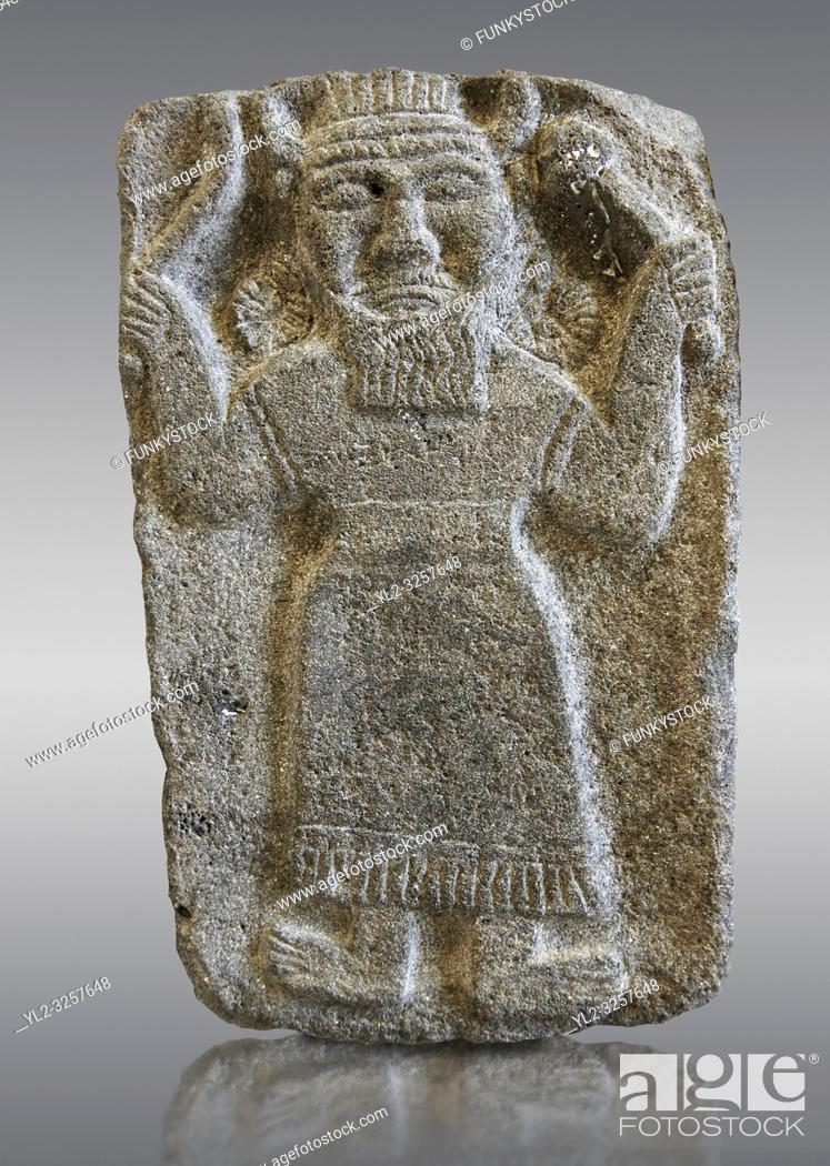 Stock Photo: 9th century BC stone Neo-Hittite/ Aramaean Orthostats from Palace Temple of the Aramaean city of Tell Halaf in northeastern Syria close to the Turkish border.