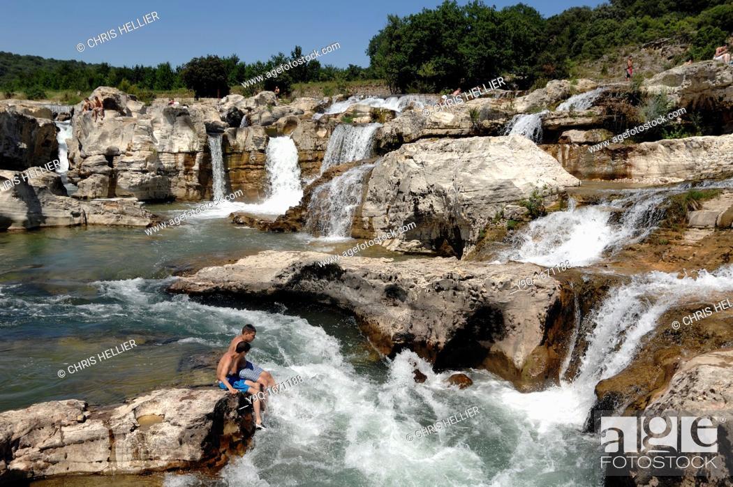 Stock Photo: Cascade de Sautadet Waterfall La Roque sur Cèze Gard France.