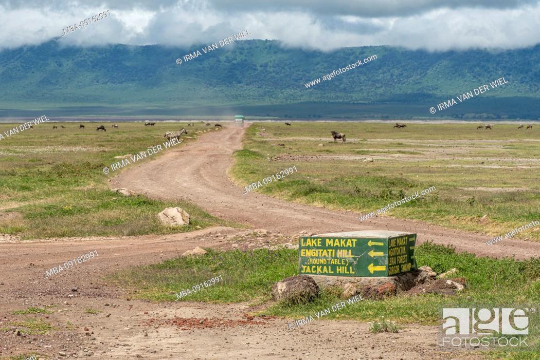 Stock Photo: Tanzania, Northern Tanzania, Serengeti National Park, Ngorongoro Crater, Tarangire, Arusha and Lake Manyara, sign in Ngorongoro Crater.