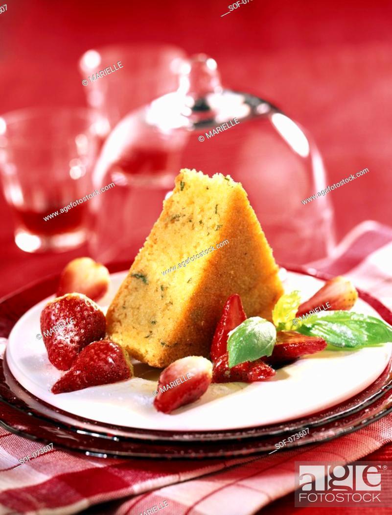 Stock Photo: basil and strawberry baba.
