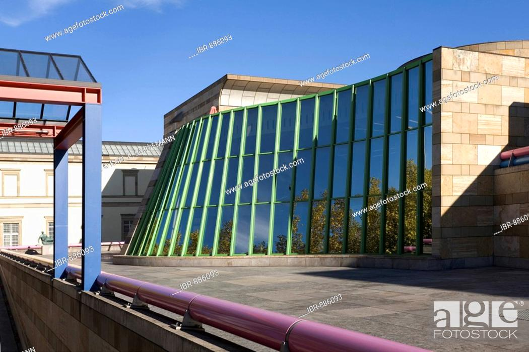 Stock Photo: New State Gallery designed by James Stirling, Stuttgart, Baden-Wuerttemberg, Germany, Europe.