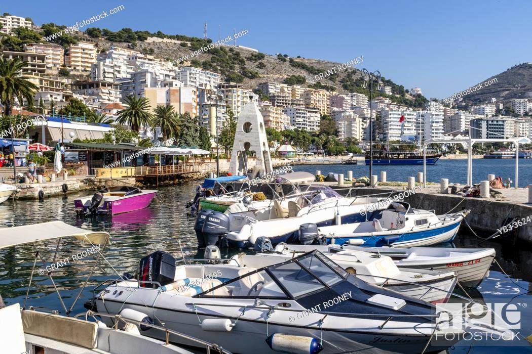 Stock Photo: Pleasure Boats In The Harbour, Saranda, Albania.