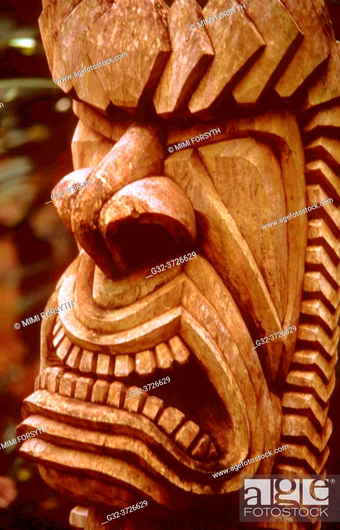 Stock Photo: Ancient Hawai'ian god Ku, presiding over productivity, war, fishing, husbandry, sorcery. . Carved wood. Hawai'i.