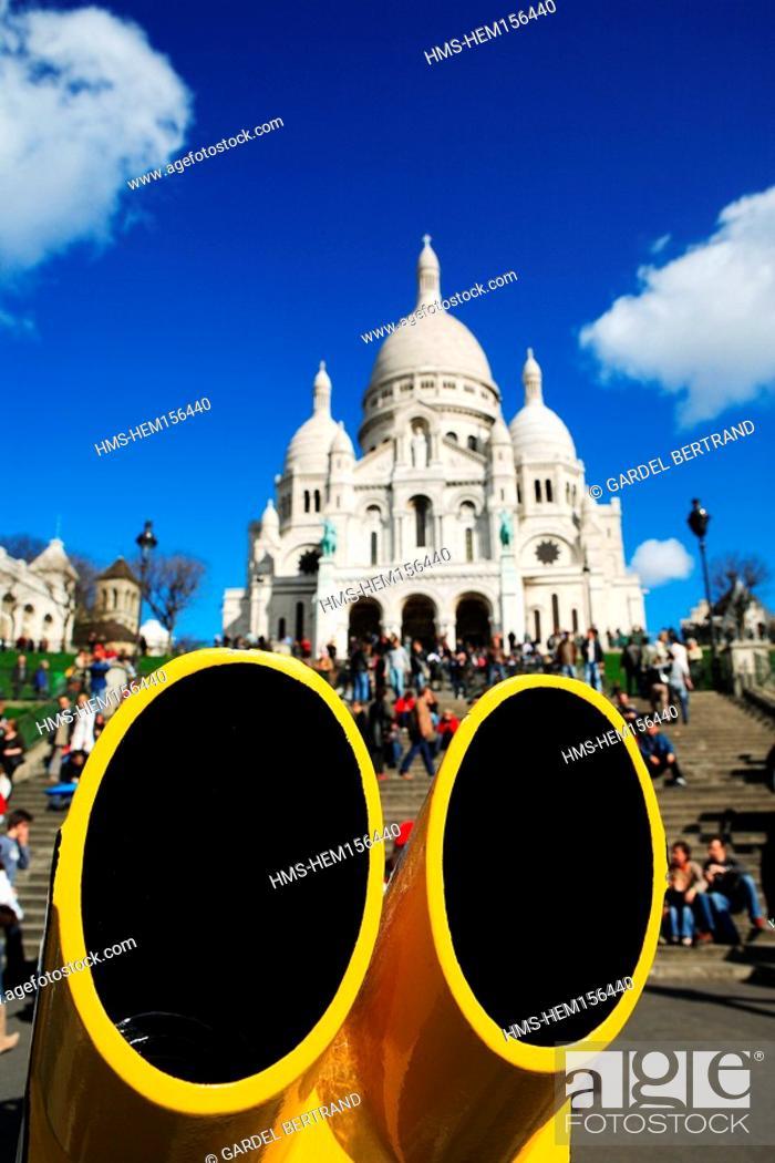 Stock Photo: France, Paris, Sacre Coeur basilica at Montmartre.