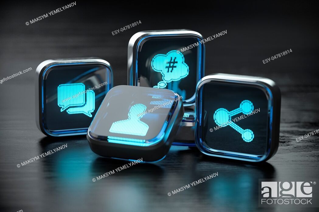 Stock Photo: Social media icon sign concept background. 3d illustration.